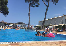 Frauchen in ihrem Pool