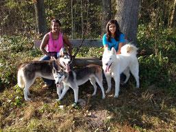 Amarok, Rainey und Blizzard, mit Nicole und Noemi im Schlepptau