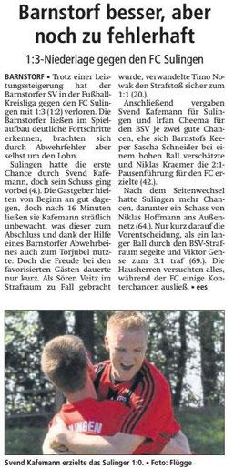5. Spieltag BSV - FC Sulingen 1 : 3