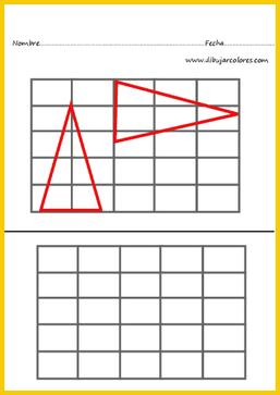 triángulos rojos  ejercicio de atención visual
