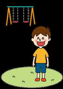"""アメリカ・オニアザミが除去された""""安心公園""""で遊ぶ子供"""