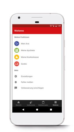 Aufbau der Funktion Weiteres der App
