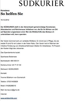 Südkurier - Spendenaufruf 19.12.2012