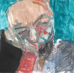 Mann - in Gedanken, Acryl auf Papier, 2017