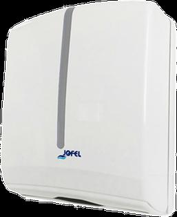 Despachador / Despachador de toalla Interdoblada Z-600 Antibacteral AH34000 Color: Blanco con aplique transparente. Dimensiones en milímetros: Alto: 350 Largo: 270 Ancho: 135 Capacidad: 600 toallas Contenido por caja: 1 pieza