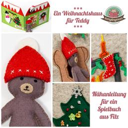 Teddy Weihnachtshaus Quiet book Spielbuch Filzbuch