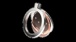 Pendentif e-clipse ouvert pour changer le centre et l'astre nuit étoilée en or et diamants. La fabrication est française.