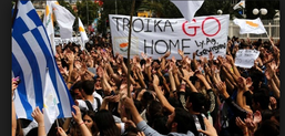 Demonstrating against the Troika in Greese
