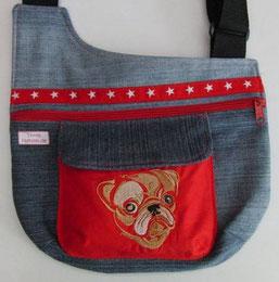 Gassitasche,  Tasche , Hund,  in Jeans mit Mops Motiv