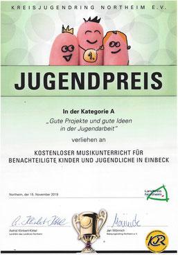 Urkunde Jugendpreis