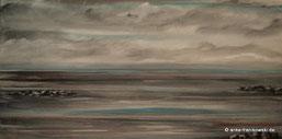 Nordsee bei Ebbe mit düsteren Wolken, Acrylbild