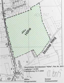 Geschützter Grünbestand Höhe nach Gemeinderatsbeschluss vom 13.11.2000