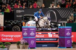 Christian Ahlmann siegte 2019 zum 7. Mal in Leipzig, diesmal mit Caribis Z. Foto Lafrentz