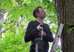 Christopher Paton hängt einen Flachkasten auf. Foto: Maike Petersen