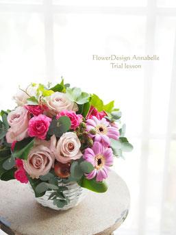 FlowerDesign Annabelle 体験レッスンのアレンジ パリスタイル