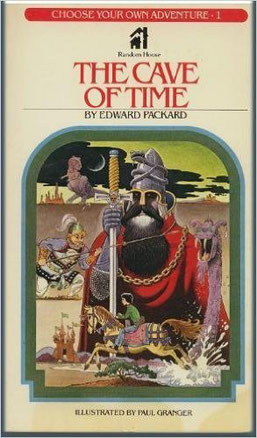 Image of cover from the first time traveler novel i read – Choose Your Own Adventure's The Cave of Time.  Shows boy riding horse.