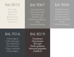 Standardfarben der Rollläden