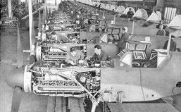 Bf109の生産ラインとDB106エンジン
