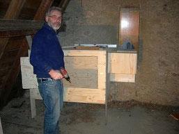 Beim Bau des Eulenkasten