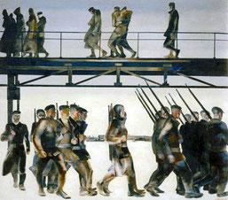 La difesa di Pietrogrado di Aleksandr Deineka, 1928, fu l'opera cardine degli anni Venti, grazie al contenuto eroico-drammatico e all'uso avanguardistico dello spazio