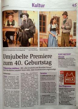 Umjubelte Premiere zum 40 Geburtstag Mit Die Gschicht vom Brandner Kaspar feiert die Bühne Loosdorf ihren 40er