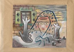 """Cesare Andreoni, """"Ragazza russa"""", 1946, acquarello su carta, 19 X 23 cm; incollato su carta Milano, collezione privata per cortesia di Archivio Cesare Andreoni"""