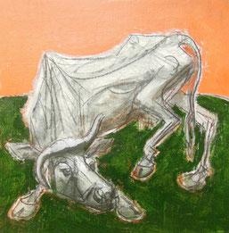 "Piero Leddi, ""Vacca"", s.d., tecnica mista su tela, 30 x 30 cm"