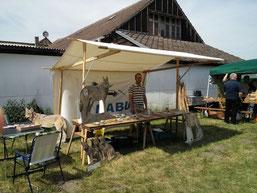 Zukunft Wolf mit Infostand, Basteln von Wolfsmasken Spiel zur Wolfsnahrung beim Museumsfest im Barnim Panorama in Wandlitz, 22. Mai 2016