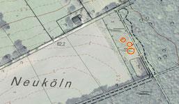 Zu sehen ist der vorhanden Teich und die drei geplanten kleineren Gewässer