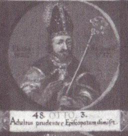 """Otto als 48. Bischof von Hildesheim auf einem Gemälde mit Medaillondarstellungen aller Hildesheimer Bischöfe bis zum Ende des 18. Jahrhunderts; lateinische Inschrift: """"Erwachsen geworden, verließ er klugerweise das Bischofsamt."""""""