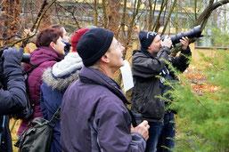 Vogelbeobachtung im Botanischen Garten. Foto: René Sievert