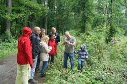 Dr. Peter Otto (Uni Leipzig) (2. v. r.) stellte bei der abschließenden Exkursion im Leipziger Auwald verschiedene Pilze vor. Foto: René Sievert