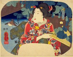 歌川国芳  「花鳥合 すゞめ ふくへ」       国立国会図書館蔵
