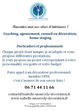 Flyers Salon Habitat  Déco de TOURS 2018, Isabelle Mourcely-Décoration, Membre UFDI 2018, Tours-Chinon 37, Centre Val de Loire