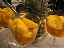 Salade d'ananas frais, infusion de menthe poivrée