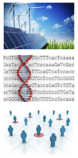top image is windmills, solar panels next to green grass with blue sky & clouds in the background. Middle is seven lines of text with strand of red DNA running from top to bottom. Third is 16 blue figures standing on geometric pattern 4 are on red circles