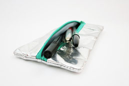 Silver Mini Pencil Case, recycled, eco friendly, vegan
