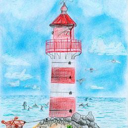 Zeichnung eines Leuchtturms