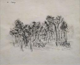 Wilhelm Thöny  bois de boulogne (version B) Tusche, Feder und laviert, 27,7 x 34,4 cm