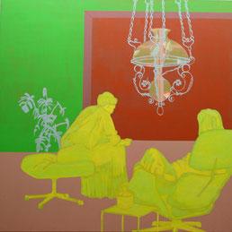"""Aurelia Gratzer, """"Raumstruktur"""", 2003, Dispersion / LW, 145x145cm"""
