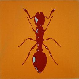 "Peter Kogler   ""o.T."" (Ameise), 1996 60x60cm, Siebdruck, Acryl / Baumwolle"