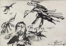 """Hans Fronius  """"Saulus"""" 69 Zeichnung, Tusche/Papie 28x20cm, gerahmt"""