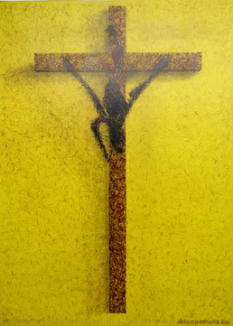 """Bananensprayer""  Thomas Baumgärtel, ""Banane an Kreuz"", Spraylack auf Leinwand, 140 x 100 cm, 1995"