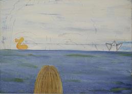 """Ronald Kodritsch,  """"Ente - BYE/BYE"""", 50x70cm, Öl auf Leinwand"""