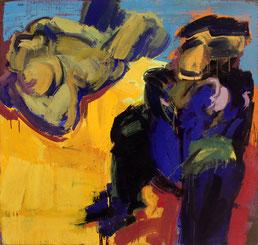 """Anton PETZ, """"Affen"""", Eitempera / Leinwand, 95 x 100cm"""