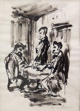 """Hans Fronius  """"Mord in der Rue Morgue"""", 1965, Tusche/Papier 28x20cm"""