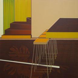 Aurelia Gratzer, Die im Dunkeln sieht man nicht I,  155 x 155 cm, Acryl auf Molino, 2007