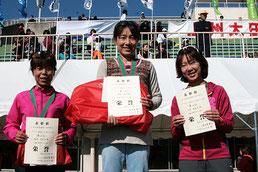 左から)2位の深津さん、1位の岡本さん、3位の大平さん