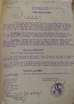 Ordre Opération daté du 8 juin 1940
