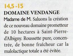 Domaine Vendange Vins de Savoie - article Revue des Vins de France juin 2016
